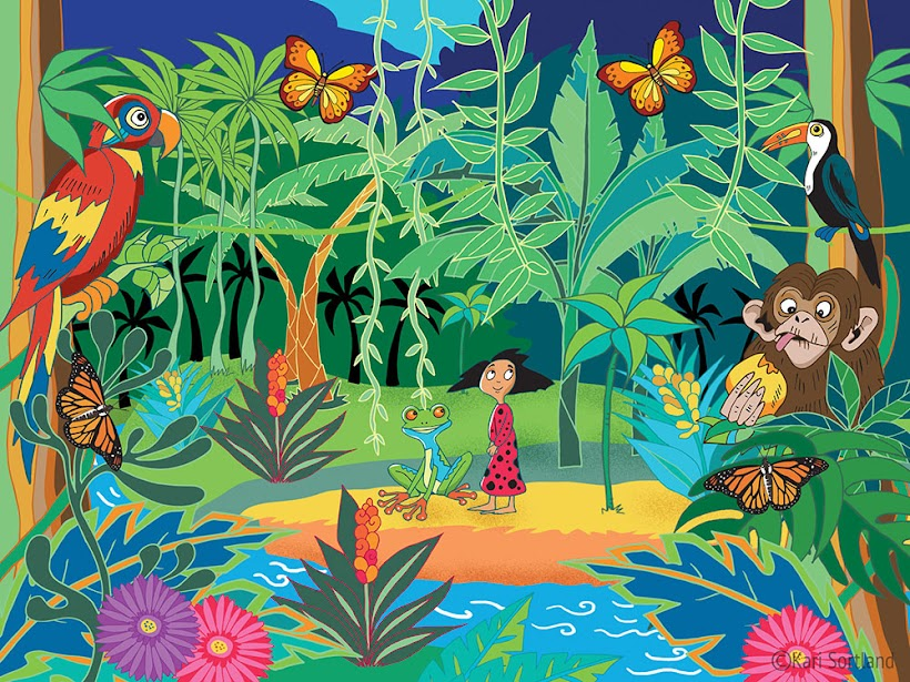 Illustrasjon, barnebokillustrasjon, Møt Frosken. Kari Sortland illustratør