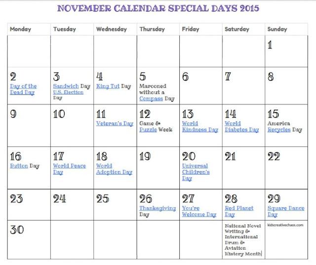 Printable November Calendar Special Days Holidays FREE