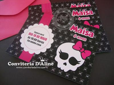 Convite Caveirinha Pink Monter High