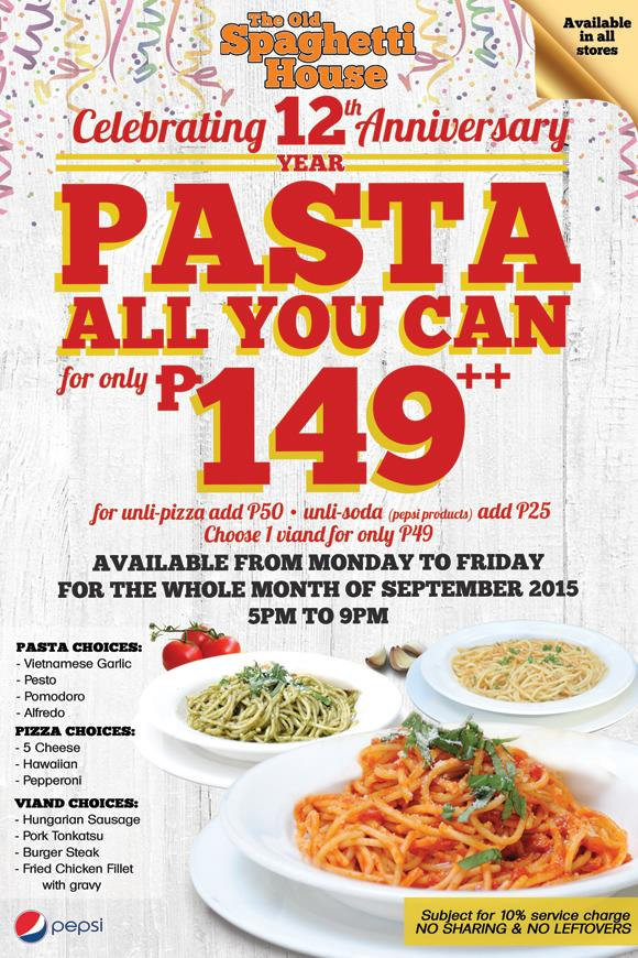 Have Pasta All You Can From The Old Spaghetti House Until November 30, 2015  [Updated]