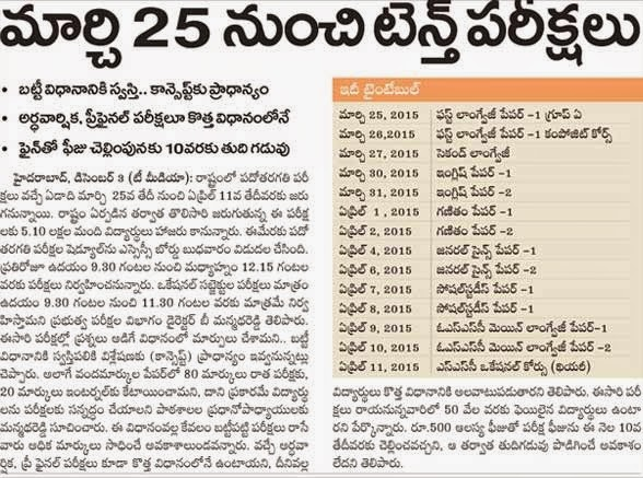 Telangana SSC/10th Class Time Table 2015 at www.bsetelangana.org