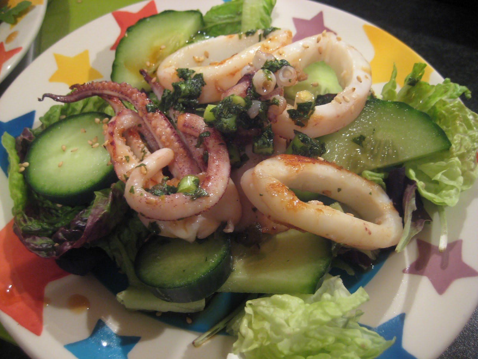 Squid Salad (adapted from WeightWatchers Soups and Salads)