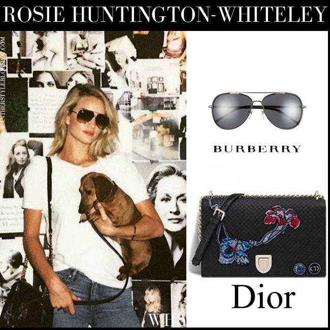 Rosie Huntington-Whiteley in aviator Burberry sunglasses, large black Dior Diorama embroidered bag what she wore july 10
