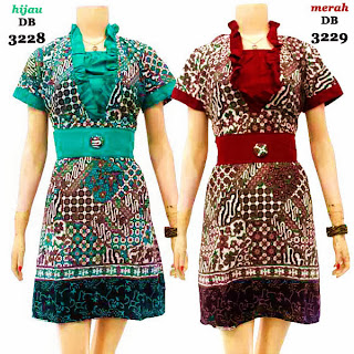 DB3228-3229 Mode Baju Dress Batik Modern Terbaru 2013