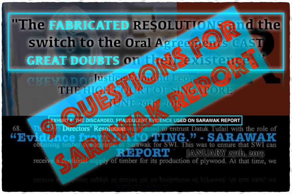 NINE QUESTIONS FOR SARAWAK REPORT