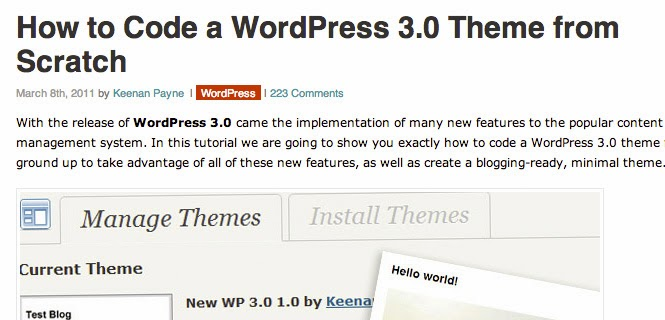 A WordPress 3.0 Theme from Scratch