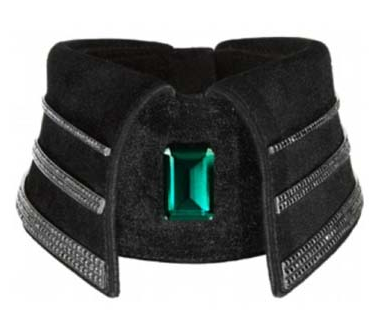 photos of karl lagerfields emerald and black diamond studded collar