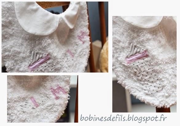 Bavoir baptême (détails) / bobinesdefils.blogspot.fr