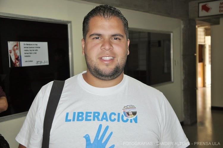 Eloi Araujo, presidente del Centro de Estudiantes de Ciencias. Jurídicas y Políticas, por el Movimiento 23. (Foto: Lánder Altuve)