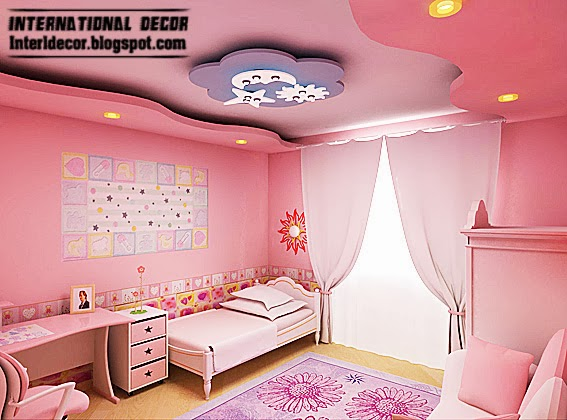 Pink Girls Bedroom Ideas With Ceiling Modern Design 2014