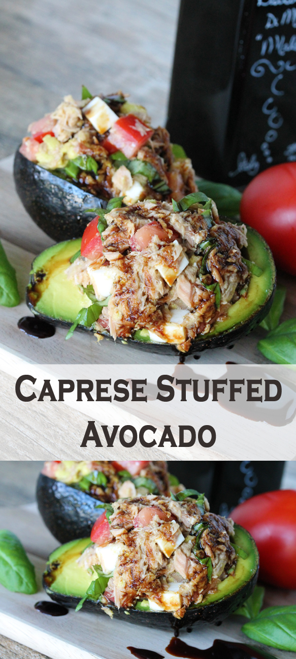 Caprese Stuffed Avocado from The Stay At Home Chef