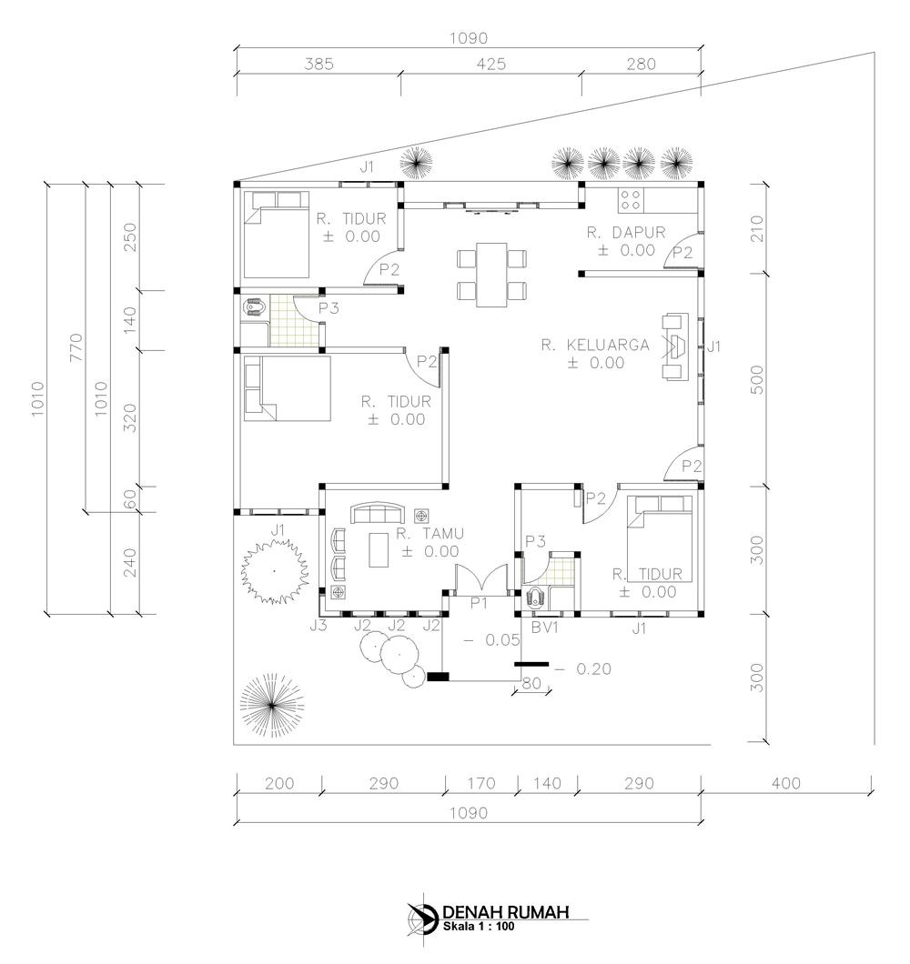 Kumpulan Desain Rumah Berkebun Denah Rumah Ukuran 10 X 10 M