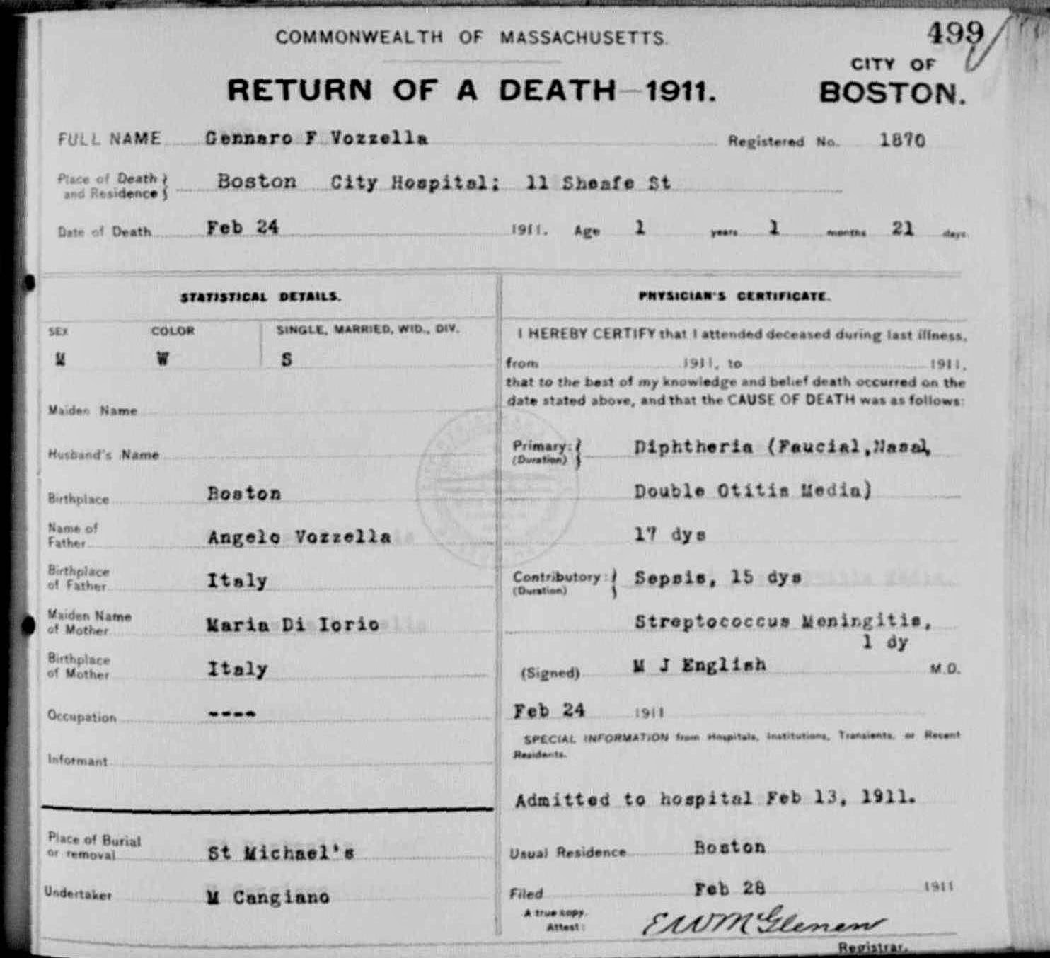The genealogy of torre le nocelle italy birth death of gennaro boston death certificate 1911 aiddatafo Image collections