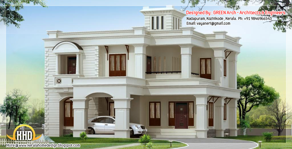 side view of 2950 square feet, 4 bhk flat roof home design