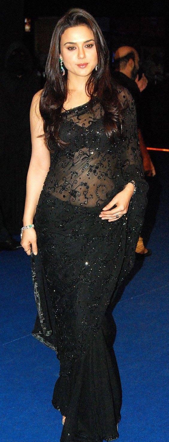 Actress preity zinta in black saree photos