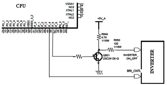 Hình 14 - CPU điều khiển khối cao áp thông qua lệnh Inverter on-off và Bright