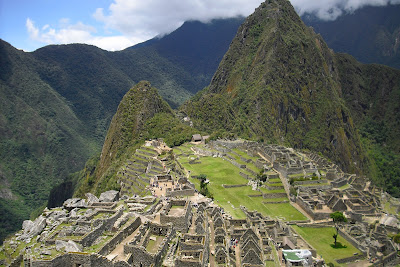 An aerial shot of Peru's Machu Picchu