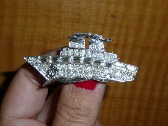 Queen Mary Art Deco Festival 30s rhinestone ship by Lady by Choice