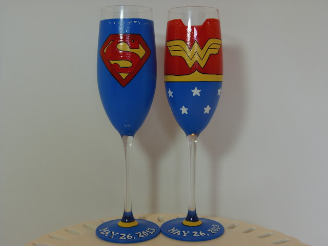Super Hero Hand Painted Champagne Flutes