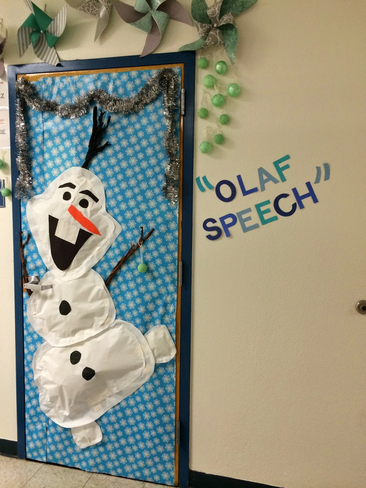 Winter Classroom Decoration Ideas ~ Pray with the saints today olaf winter door theme