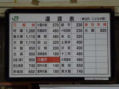 JR東日本 八幡平駅 運賃表