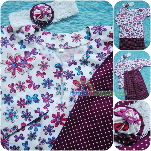 Baju Kurung Cotton for baby dan kanak-kanak White Colorful Polkadot