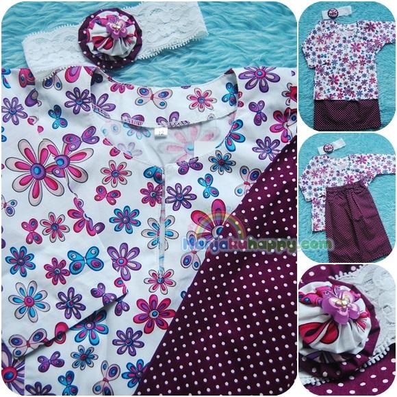 Baju Kurung Cotton for baby dan kanak-kanak White Colorful Polkadot