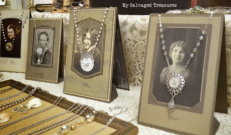 repurposed jewelry from www.mysalvagedtreasures.blogspot.com