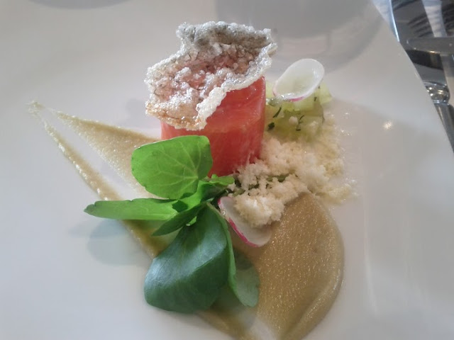 Confit ocean trout, compressed apple, apple cider vinaigrette, horseradish snow