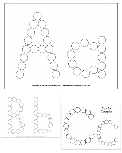 Alphabet Do-A-Dot Worksheets - ABC Coloring Pages