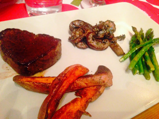 Fillet steak, sweet potato fries, goat cheese mushroom and asparagus