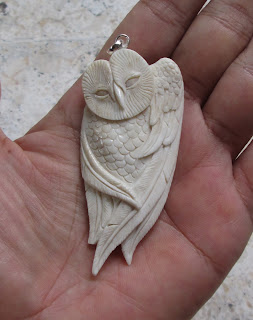 Owl Carved Bone Pendants