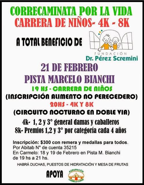 8k y 4k Correcaminata por la vida (Carmelo, Colonia, 21/feb/2015)
