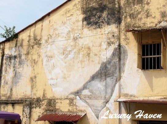 penang george town street arts old man mural