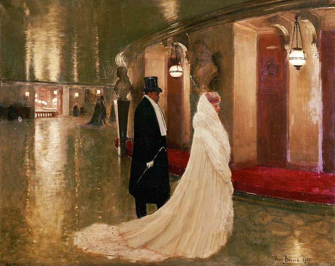 Jean    C Araud  An  elegant  couple  entering  a  box  at  the  Paris  Opera C