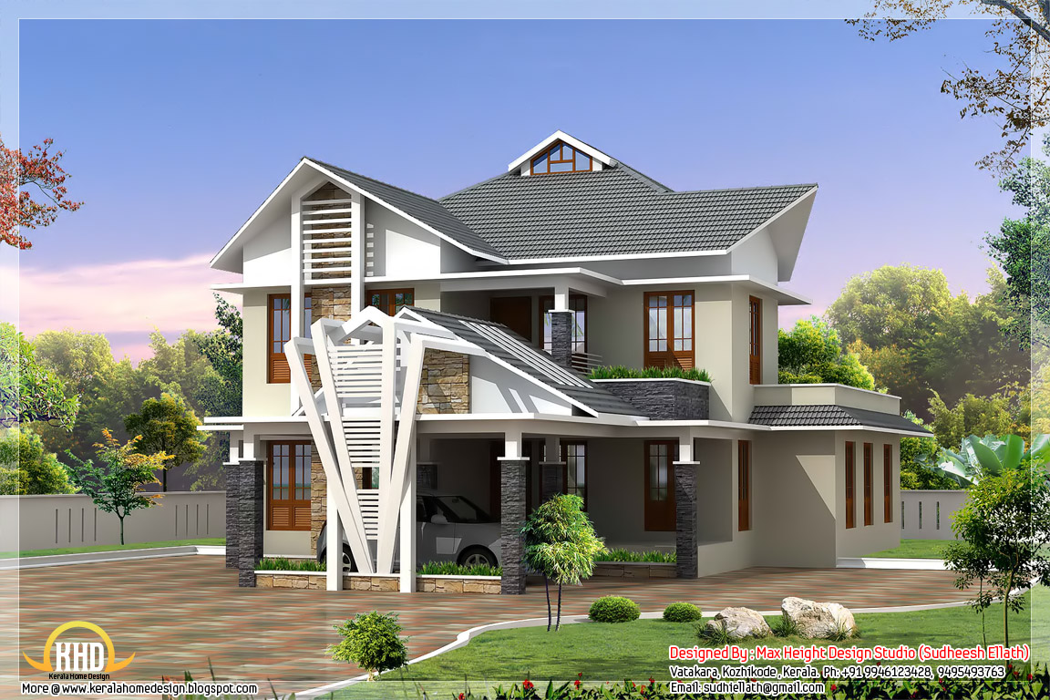 Exterior collections kerala home design 3d views of for Modern house 6
