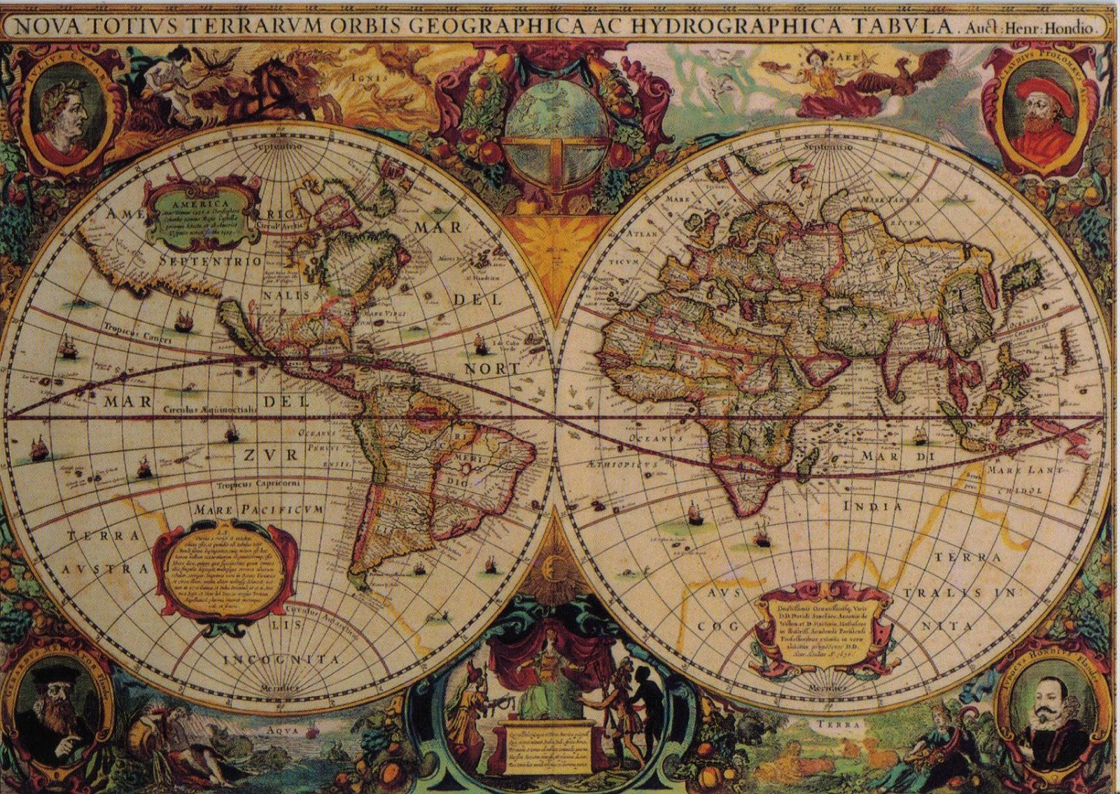 MishCards postcrossing blog Hondius 39 decorative world map and a bear