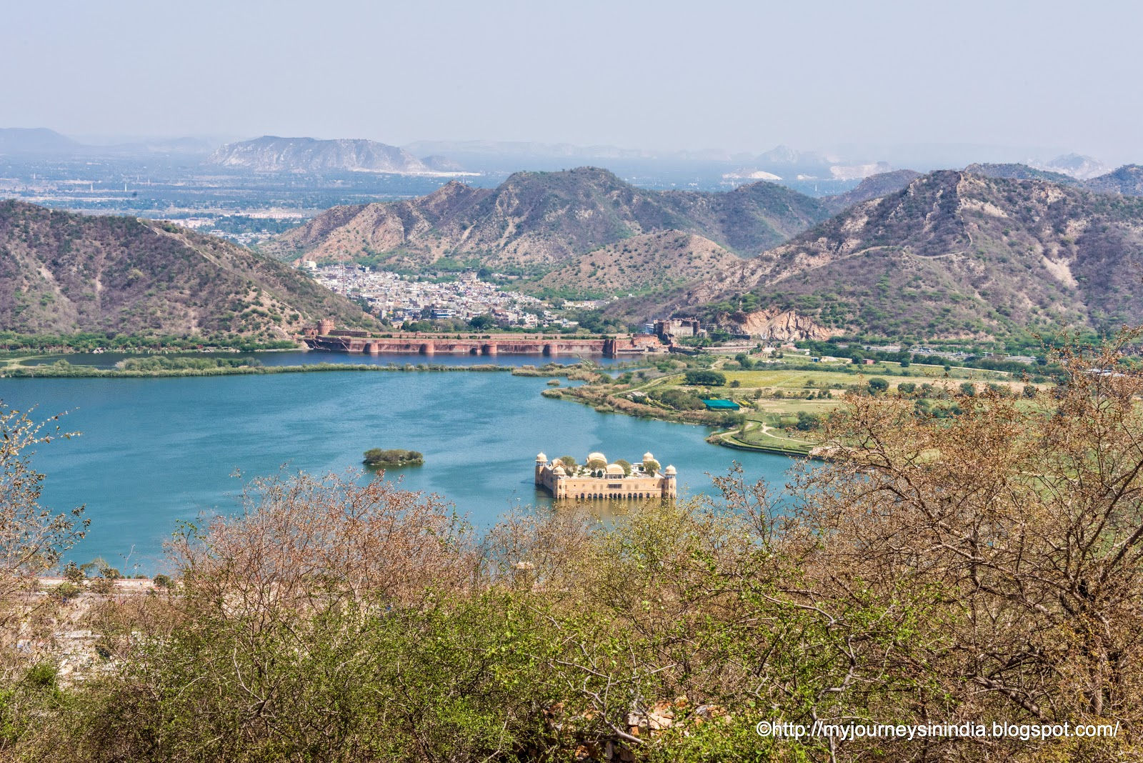 View of Jalmahal from on the way to Nagargarh Fort Jaipur