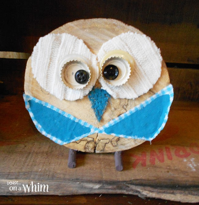Painted Blue Gigham Fabric Wings on a Log Slice Owl via Denise on a Whim