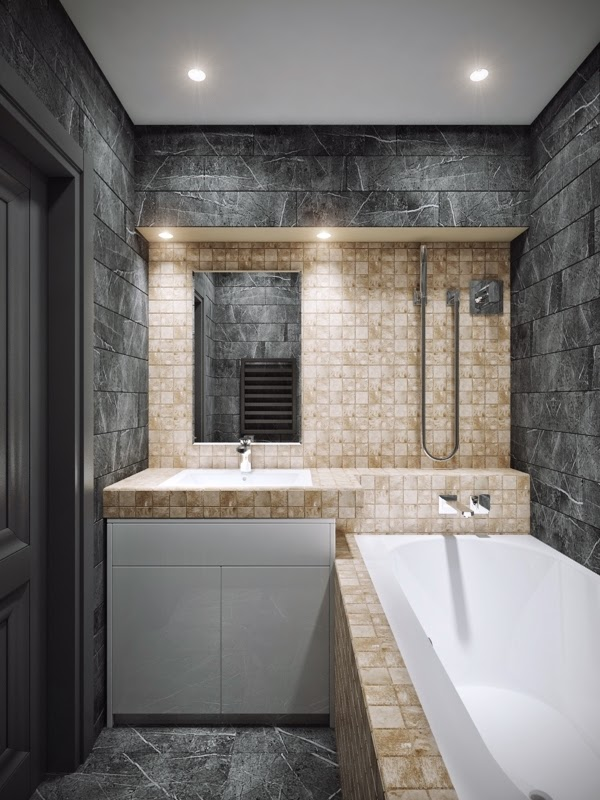 small apartment interior design bathroom with black tiles bright