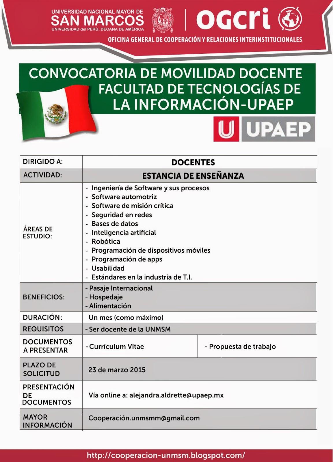 Ogcri unmsm m xico convocatoria de movilidad docente for Convocatoria docente