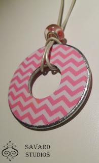 pink chevron, pink zig zag, decoupage washer necklace