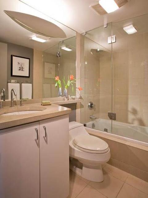 Eu moraria aqui 19 banheiros pequenos  dos mais simples aos rebuscados! -> Decoracao De Banheiro Pequeno Bege