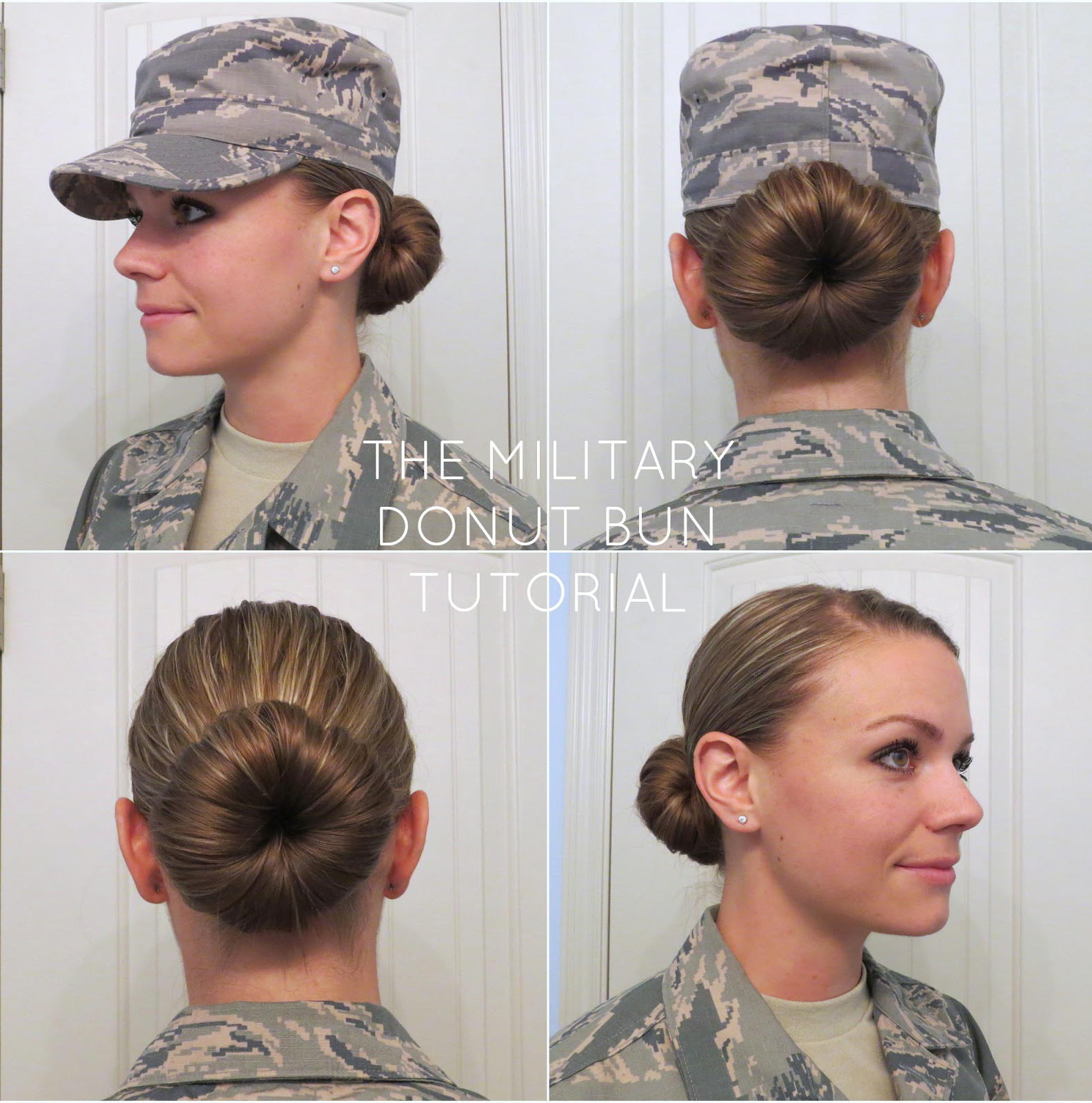 Military Donut Bun Tutorial, Military Sock Bun Tutorial, Quick Sock Bun Tutorial