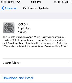Software update iOS 8.4