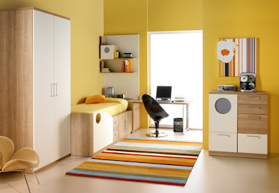 habitación para adolescente color amarillo
