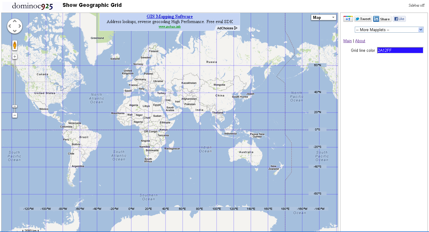 Dominoc925 show geographic grid google mapplet i spent some time to put together this google mapplet that simply shows the latitude and longitude geographic grid lines and labels on google maps the grid gumiabroncs Images