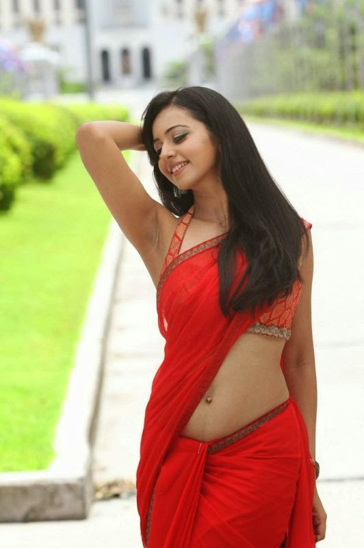 Rakul Preet Singh Hot Navel Show in Red Saree