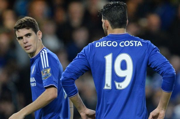 Diego Coasta And Oscar Had To Be Seperated By Teammates As Duo Got Into Fight At Chelsea Training