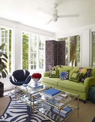 sala ecléctica sofá verde olivo